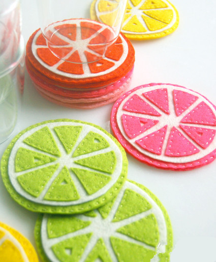diy手工制作小清新柠檬瓣不织布杯垫